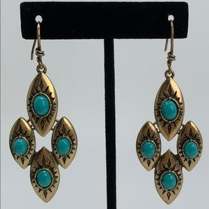 Blue & Gold Dangle Hook Earrings
